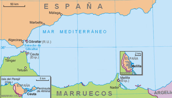 Morocco claims sovereignty over Spanish enclaves of Ceuta and Melilla. Ceuta-melilla.png