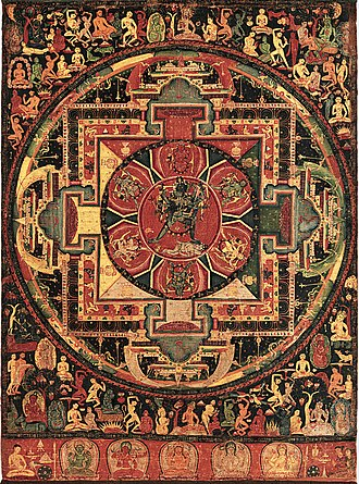 Mahayana - The use of mandalas was one new feature of Tantric Buddhism, which also adopted new deities such as Chakrasamvara (pictured).