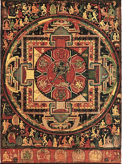 The use of mandalas was one new feature of Tantric Buddhism, which also adopted new deities such as Chakrasamvara (pictured). Chakrasamvara Mandala.jpg