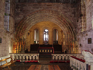 St Mary's Cathedral, Tuam - 12th-century red sandstone chancel arch in Irish Romanesque style