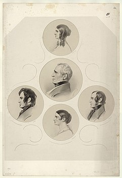 Charles Kemble; Adelaide Kemble; Frances Anne ('Fanny') Kemble; John Mitchell Kemble; Henry Vincent James Kemble by Richard James Lane.jpg