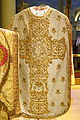 Chasuble presented to Archbishop Patrick W. Riordan on his silver jubilee, 1908, silk and gold thread, view 2 - Saint Ignatius Church, San Francisco, CA - DSC02620.JPG