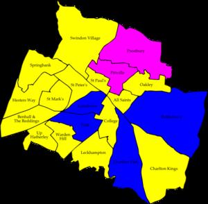Cheltenham Borough Council elections - Image: Cheltenham 2010 election map