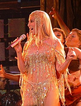 Cher performing during Living Proof: The Farewell Tour in 2004 Cher at Farewell Tour.JPG