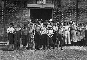 Tupelo, Mississippi - Part of the child work force at Tupelo Cotton Mills, 1911. Photograph by Lewis Hine.