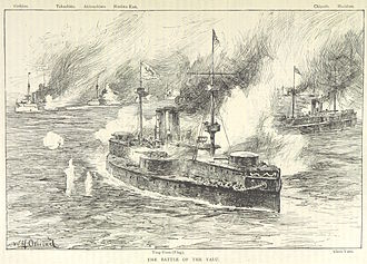 Battle of the Yalu River (1894) - British illustration of Dingyuan and Zhenyuan under fire from the Japanese cruisers