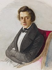 A painting of a young white male, with long hair and a suitcoat