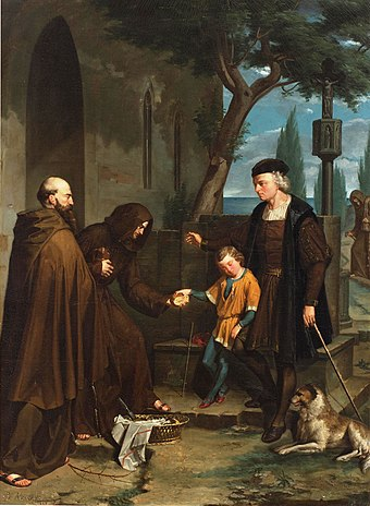 Christopher Columbus at the gates of the monastery of Santa Maria de la Rabida with his son Diego, by Benet Mercade Christopher Columbus at the gates of the monastery of Santa Maria de la Rabida with his son Diego.jpg
