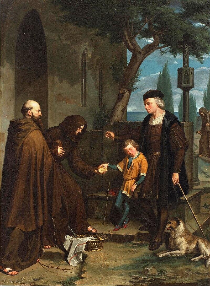 Christopher Columbus at the gates of the monastery of Santa Maria de la Rabida with his son Diego.jpg