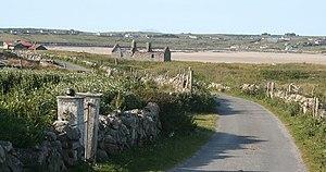 Féchín of Fore - Ruins of the church founded by Saint Féchín at Omey Island.