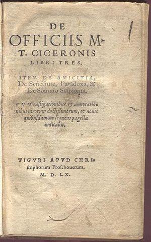 De Officiis - Title page of Cicero's De officiis. Christopher Froschouer - 1560.