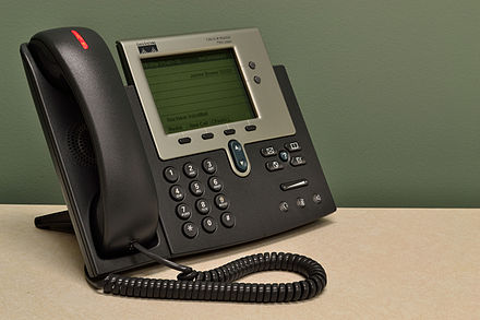 An IP desktop telephone attached to a computer network, with touch-tone dialing CiscoIPPhone7941Series.jpg