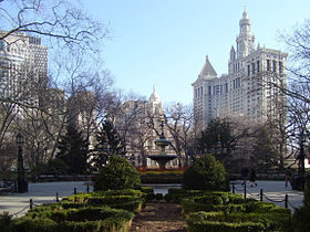 City Hall Park in winter from south with City Hall and Municipal Building-2.jpg