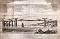 Civil engineering; the Menai suspension bridge. Engraving by Wellcome V0024337.jpg