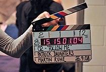 Clapperboard, O2 film, September 2008.jpg