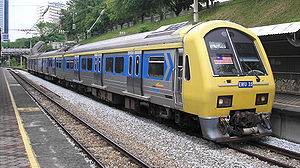 Class 83 KTM Komuter train (EMU 35) at Bank Negara