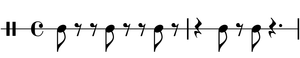 The 3-2 clave rhythm, common in salsa music, i...