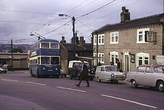 Clayton, West Yorkshire - The Bradford Trolleybus and Black Bull pub at Clayton in 1972.
