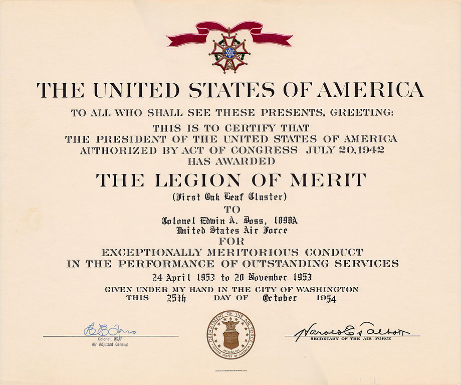 filecol ea doss legion of merit october 25 1954jpg