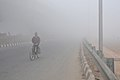 Cold wave and dense fog disturbed the routine life in Delhi on December 27, 2010. Picture shows traffic out of the gear under the visibility almost nil.jpg