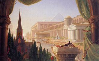 Architectural style - The Architect's Dream by Thomas Cole (1840) shows a vision of buildings in the historical styles of the Western tradition, from Ancient Egypt through to Classical Revival