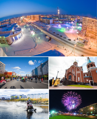 Novy Urengoy - Counter-clockwise: Central Square, Leningradsky Avenue, Lake Molodezhnoe, Gubkina Avenue, Epiphany Cathedral