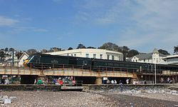 Colonnade Viaduct - GWR 43188 rear of up Cornish Riviera.JPG