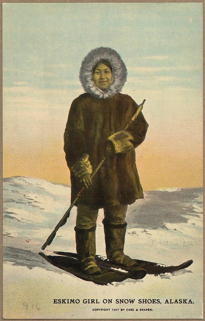 File Color Post Card Quot Eskimo Girl On Snow Shoes Alaska