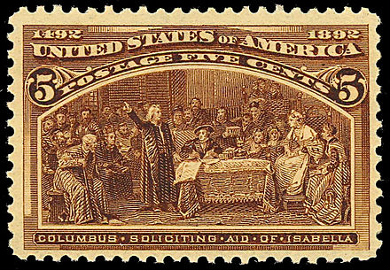 5 cent U.S. postage stamp, Columbus soliciting aid of Isabella Columbian Issue 1893-5c.jpg