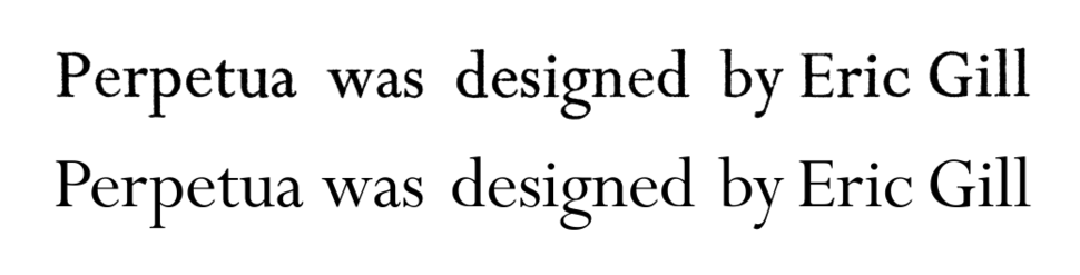 Comparison of printed and digital versions of Perpetua