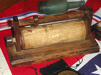 Vigenère cipher - Confederate cipher wheel, captured at the surrender of Mobile, Alabama, in May 1865 – National Cryptologic Museum