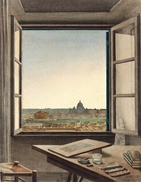 File:Constant Moyaux - View of Rome from the Artist's Room at the Villa Medici.jpg