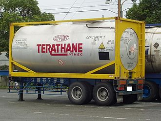 Polytetrahydrofuran - Terathane container owned by DuPont (before the business was sold to Invista).