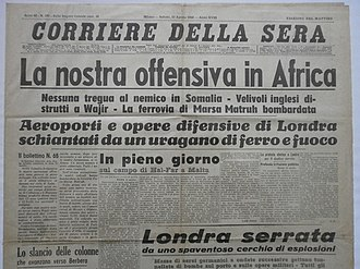 Italian conquest of British Somaliland - Image: Corriere Della Sera 17 agosto 1940 Offensiva in Africa titolo