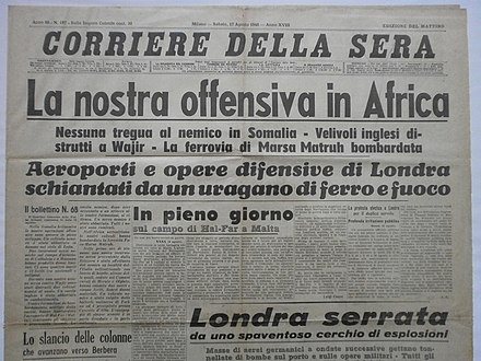 The Italian newspaper Corriere della Sera covering the start of the Somaliland offensive Corriere Della Sera - 17 agosto 1940 - Offensiva in Africa - titolo.JPG