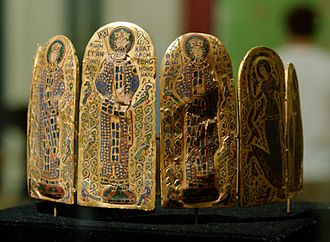 Hungarian National Museum - The Byzantine enamel plaques of the 11th century Monomachus Crown showing Constantine IX Monomachus and Empress Zoe; one of the internationally famous objects in the collection