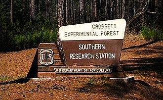 Crossett Experimental Forest - Location sign