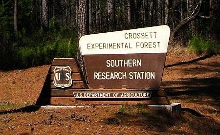Crossett Experimental Forest sign