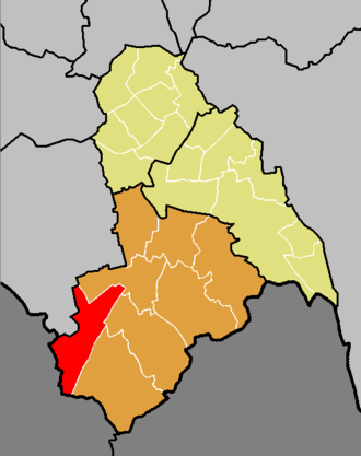 Coulsdon West (ward) - The ward of Coulsdon West (red) shown within the Croydon South constituency (orange) within the London Borough of Croydon (yellow)