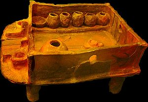 Architecture of the Cucuteni–Trypillia culture - Clay Model of house interior with two fireplaces