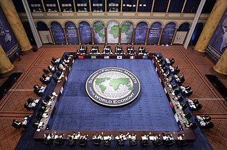 2008 G20 Washington summit - G20 leaders and delegates attend the Summit on Financial Markets and the World Economy Saturday at the National Building Museum in Washington, D.C. on November 15, 2008.