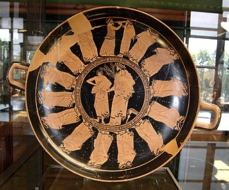 Red-figure pottery - Procession of men, kylix by the Triptolemos Painter, circa 480 BC. Paris: Louvre