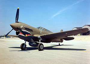 Development of Chinese Nationalist air force (1937–45) - American P-40E Warhawk decorated with the famous sharkmouth nose art that had identified the AVG