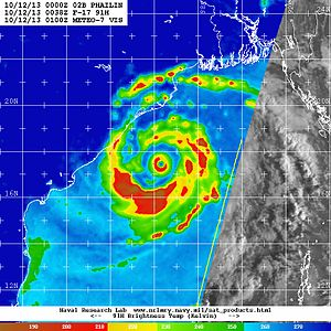 Eyewall replacement cycle - A microwave pass of Cyclone Phailin revealing the moat between the inner and outer eyewalls.