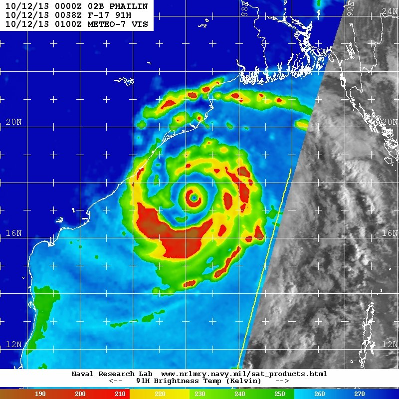 Cyclone Phailin F-17 91H microwave pass 12 October 2013 0038z