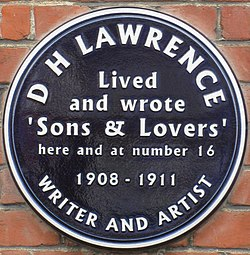 Photo of D. H. Lawrence black plaque