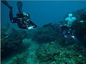 Two divers swim over a rocky reef in clear water. They are trimmed level and show good technique