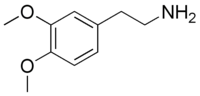 Skeletal formula of 3,4-dimethoxyphenethylamine