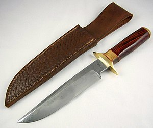 Knife - A Bowie knife of pattern-welded steel