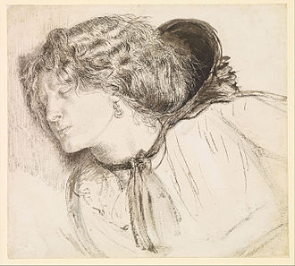Found (Rossetti) - Study for the head of the girl, 1858. Ink on paper. Model: Fanny Cornforth. (Birmingham Museum and Art Gallery)